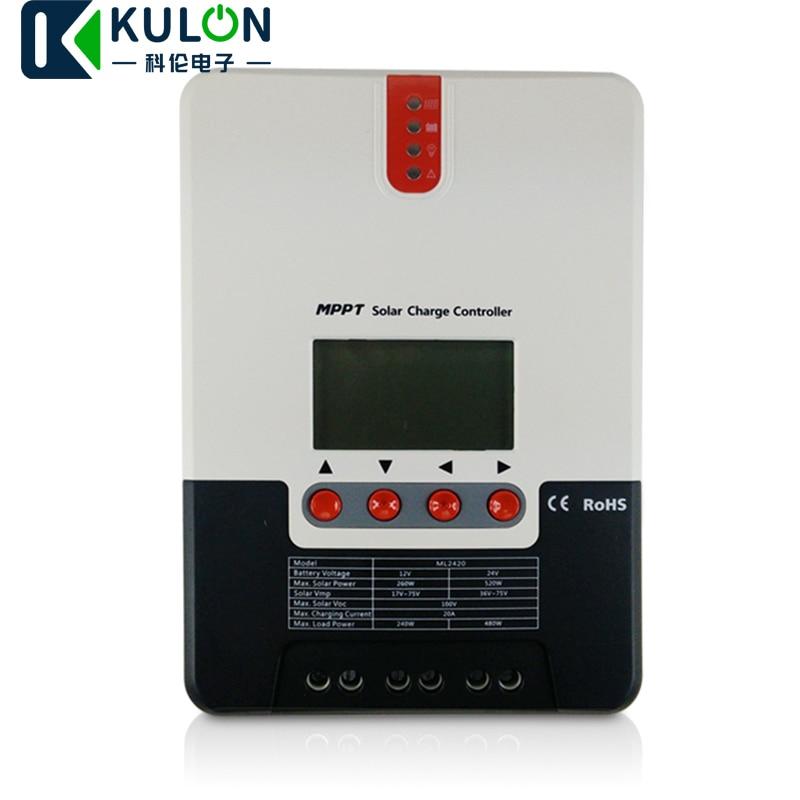 SRNE 20A/30A/40A MPPT контроллер солнечного заряда ML2420 ML2430 ML2440 ЖК-дисплей 12 В 24 в авто панель солнечной батареи зарядное устройство регулятор