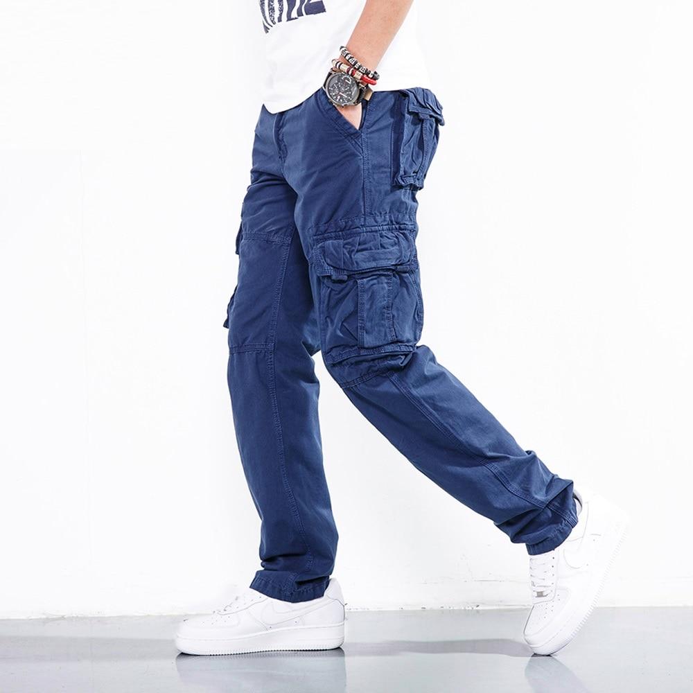 Брюки-карго мужские с несколькими карманами, повседневные осенние хлопковые черные джинсы в стиле милитари, тактические штаны, одежда для м...