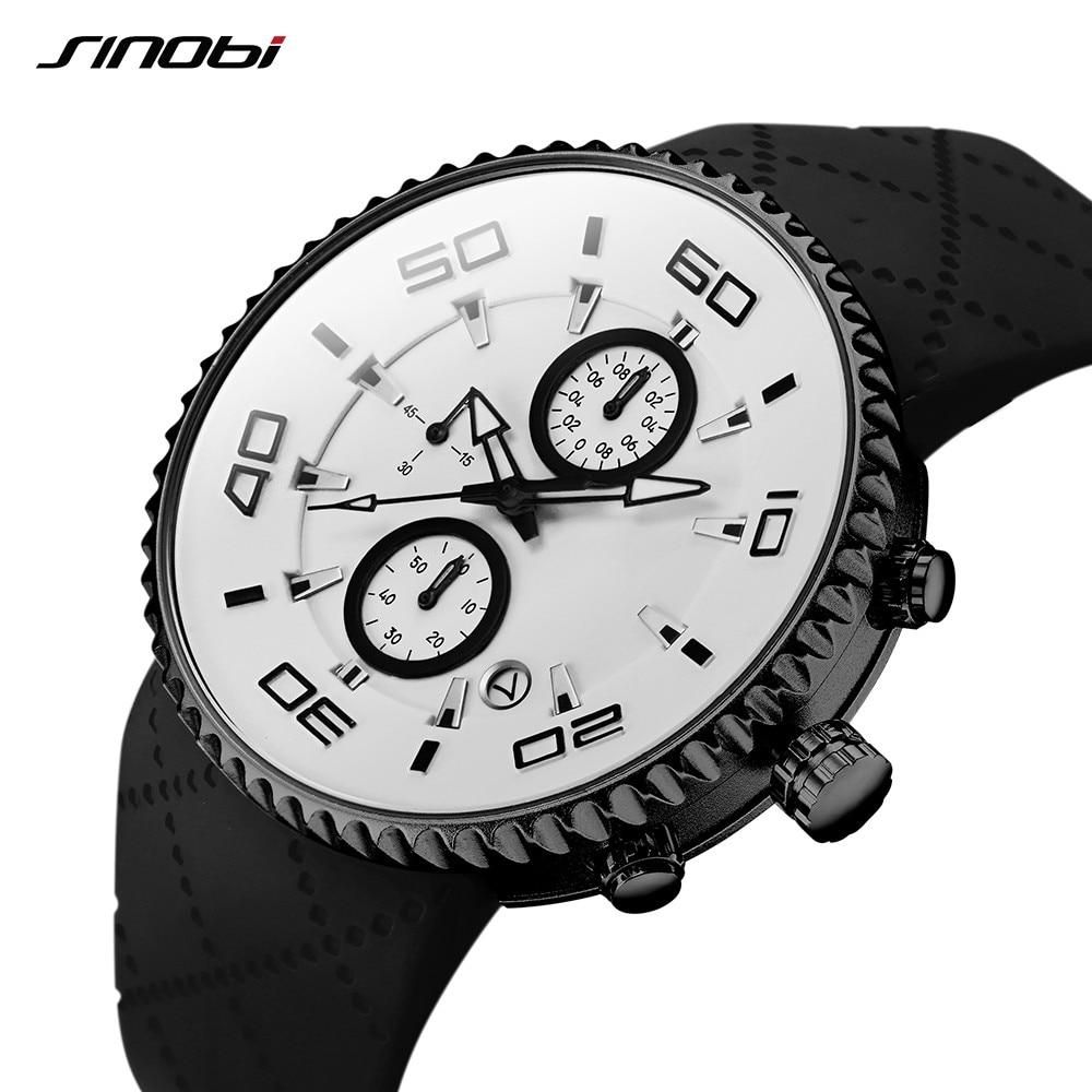 SINOBI Sports Watches Fashion Men's Stopwatch Silicone Band Chronograph Quartz Clock relojes para hombre erkek kol saati 2019
