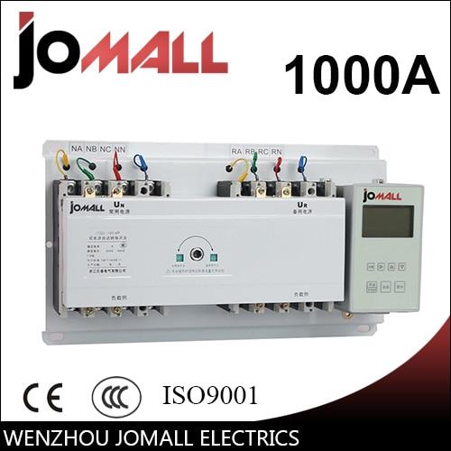 Interruptor de transferencia automática 1000A 3 polos 3 fases ATS con controlador en inglés