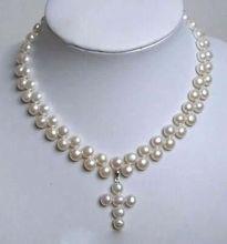 Charmant collier pendentif croix 2 rangées de perles de culture Akoya blanc 18