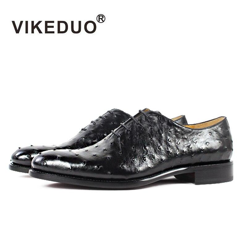 VIKEDUO-حذاء أكسفورد مصنوع يدويًا من جلد النعام للرجال ، 100% ، حذاء فاخر أسود مخصص لحفلات الزفاف والمكتب ، تصميم أصلي