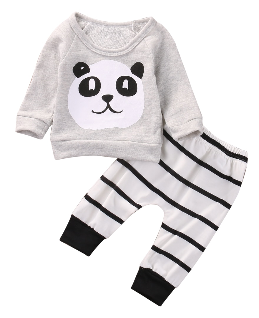 2 uds. Conjunto de ropa para recién nacido, niño, niña, Panda, camiseta de manga larga, pantalones a rayas