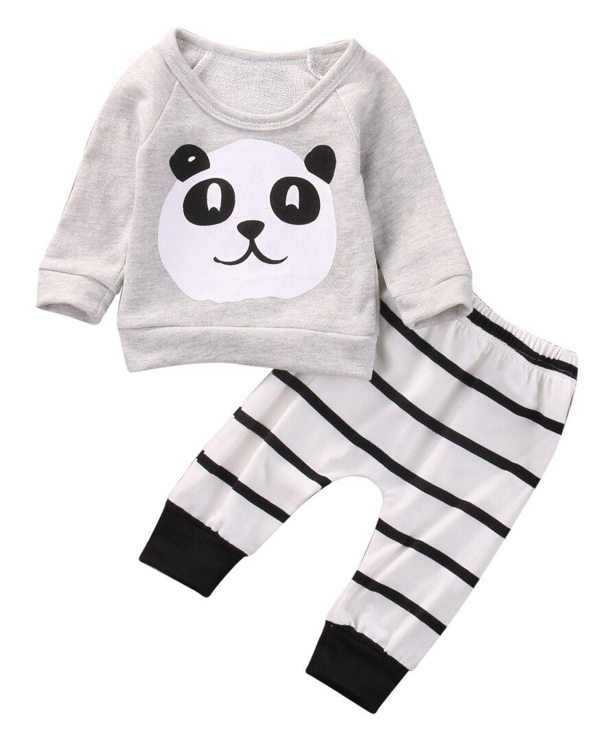 2Pcs Cute Newborn Infant Baby Boy Girl Panda Long Sleeve T-shirt Striped Pants Outfit Clothes Set