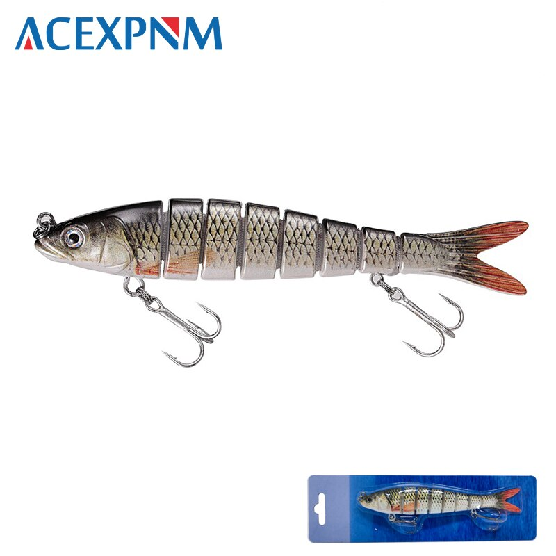 2019 água superior dura isca de pesca 14cm 25g multi articulado 3d olhos 8 segmentos crankbait swimbait 2 agudos gancho acessórios de pesca