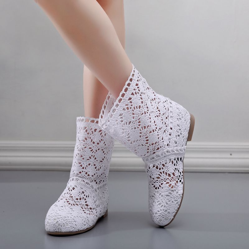Basic Summer Mesh Women Shoes Wild  Boots Women's Casual Flat Boots High Top knitted Women Boots Hollow Botas Zapatos de mujer
