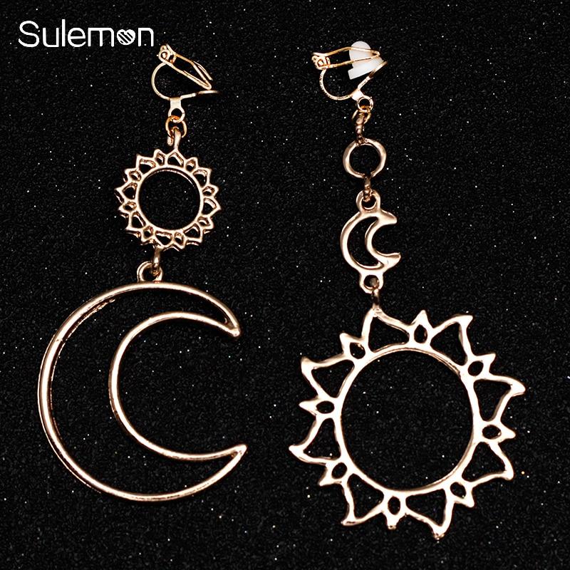 aliexpress.com - Stars Moon Sun Earrings No Hole Ear Clips Geometric Metal Hollow Line Clip Earrings non pierced earrings Gift CE369