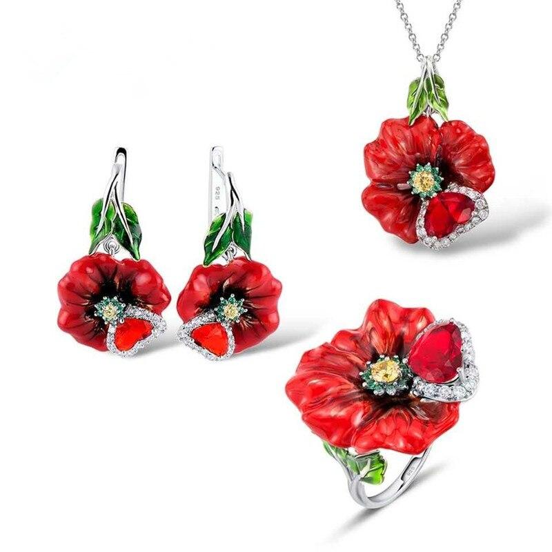 Conjuntos de joyería Buyee 100% de Plata de Ley 925 con diseño de flor de boda y piedras rojas para mujer, anillo esmaltado hecho a mano personalizado, joyería para mujer