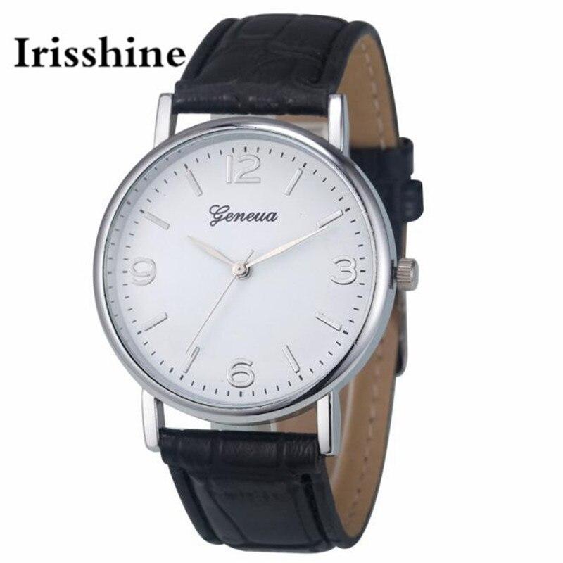 Irisshine B08 brand luxury women watches clock girl lady gift Business Leather Analog Quartz Unisex Wrist Watch