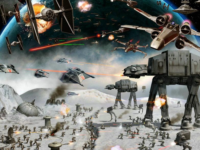 Sc Fi Star Wars Spaceship Robot Battle ScFi background High quality Computer print party backdrop
