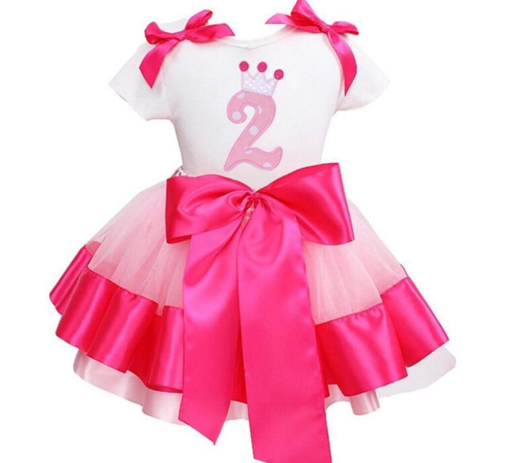 Футболка с коротким рукавом и рисунком короны, 2 шт./компл., платье-пачка для маленьких девочек на день рождения