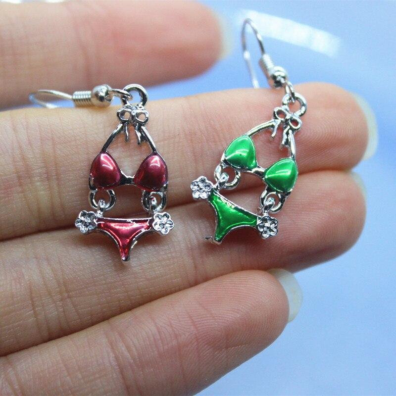 925 Siver Funny Bow Bikini Hypoallergenic Enamel Earrings Women's Fashion Cute Underwear Hand-made DIY Jewelry Creative Gifts