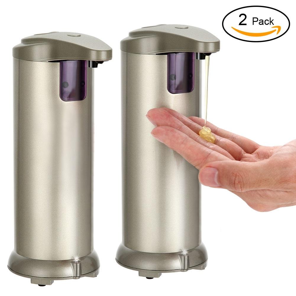 Dispensador de jabón de acero inoxidable, 2 unidades por Set, dispensador de champú con Sensor automático resistente al agua para baño, cocina, Hospital y Hotel
