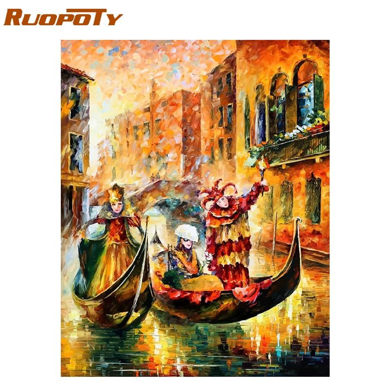RUOPOTY Rahmen Abstrakte Boot DIY Malerei Durch Zahlen Moderne Wand Kunst Bild Landschaft Ölgemälde Für Home Decor Kunstwerk Geschenk
