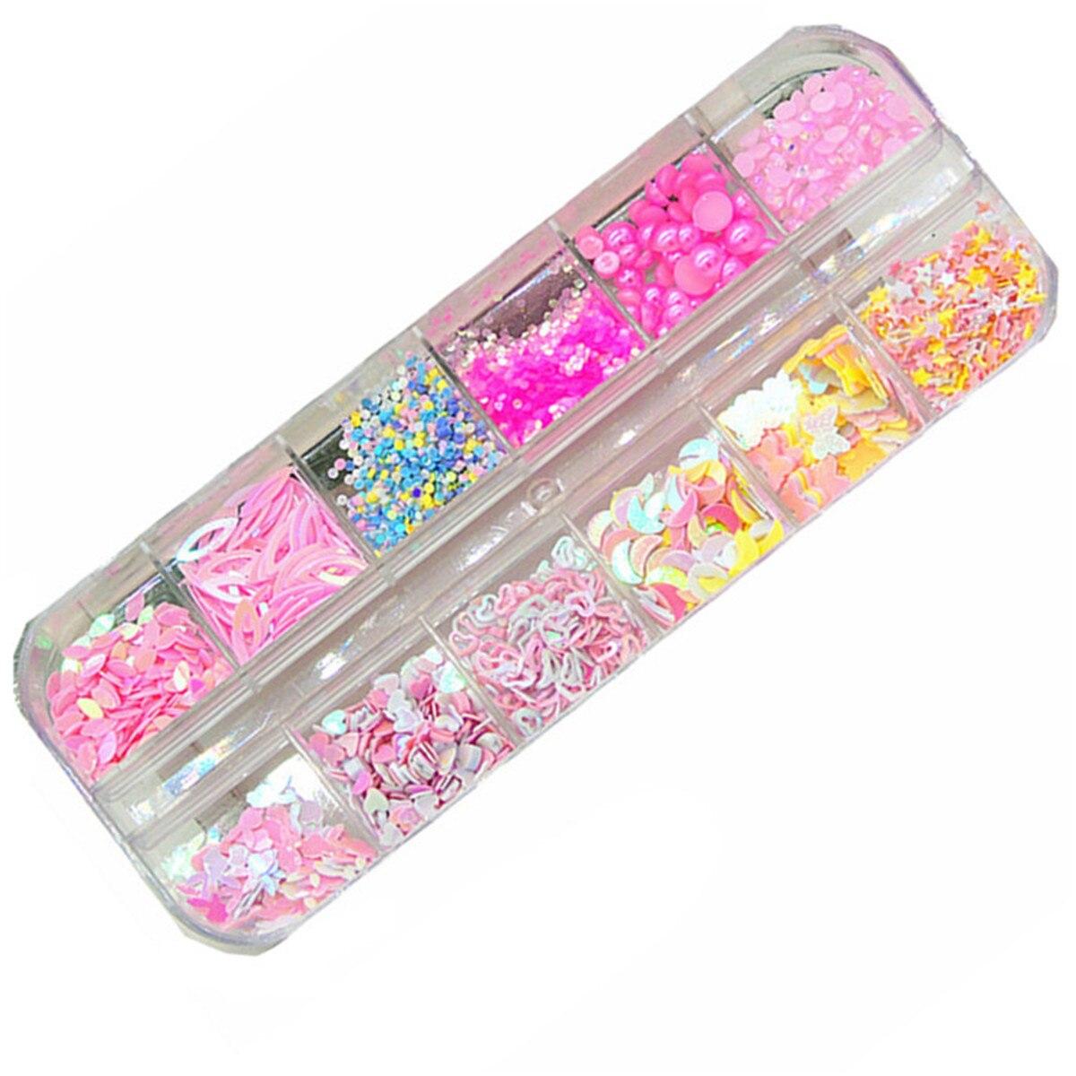 Holo redondo lentejuelas círculos Pot Rosa amor decoración de uñas con perlas decoraciones uñas paillette de brillo copos accesorios herramientas de manicura