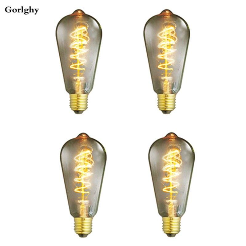 4 шт./лот 40 Вт E26/E27 ST64 теплая белая ретро диммируемая декоративная винтажная лампа накаливания Эдисона 220-240 В для украшения