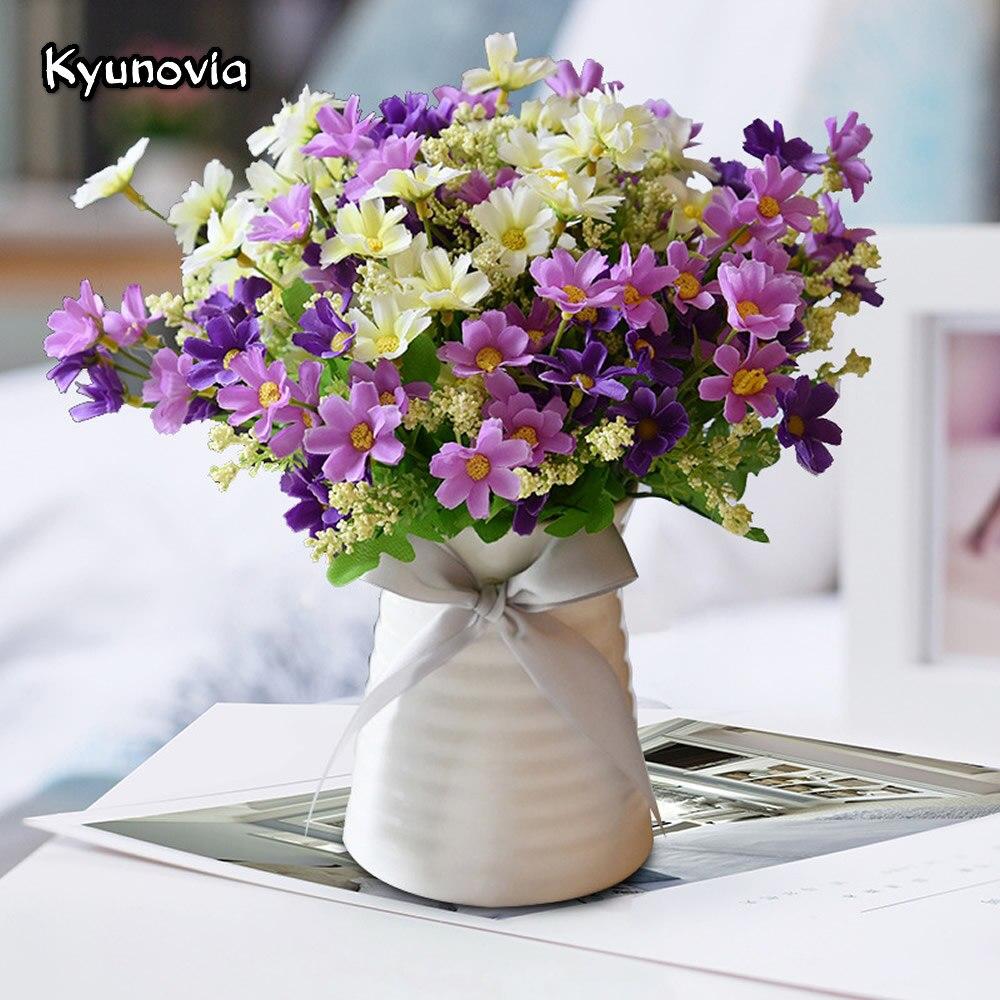 Kyunovia 1 Conjunto Qualidade Cerâmica vaso + flores de seda artificial Da Flor Da Margarida para o Casamento Casa Sala de TV Decoração Da Mesa KY55