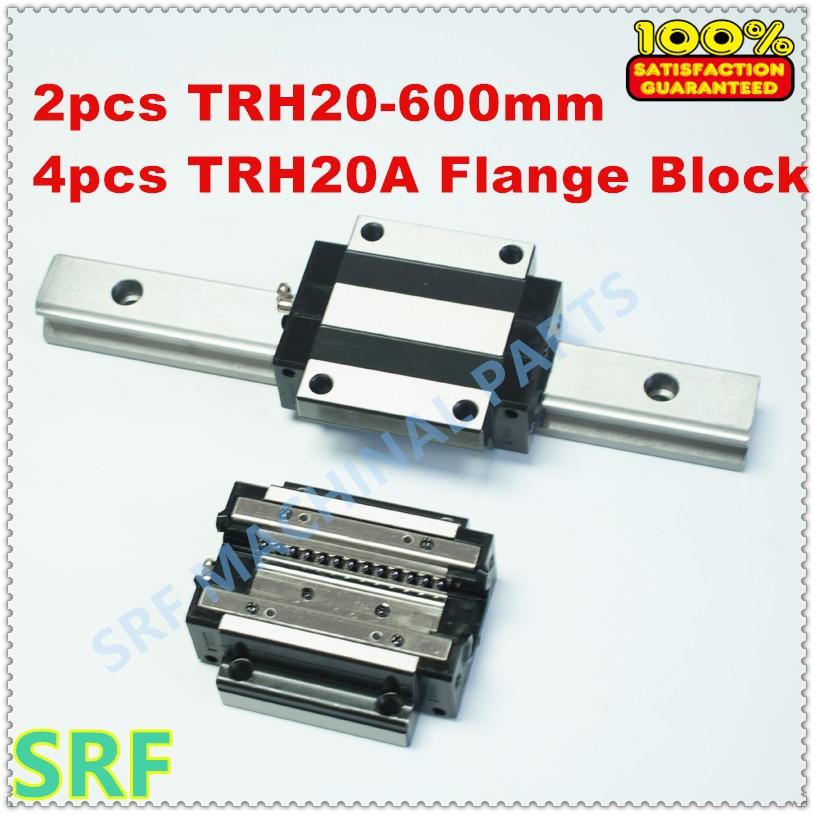 Carril guía lineal de 2 piezas TRH20 L = riel lineal de 600mm + 4 piezas TRH20A brida de cojinete bloque para CNC