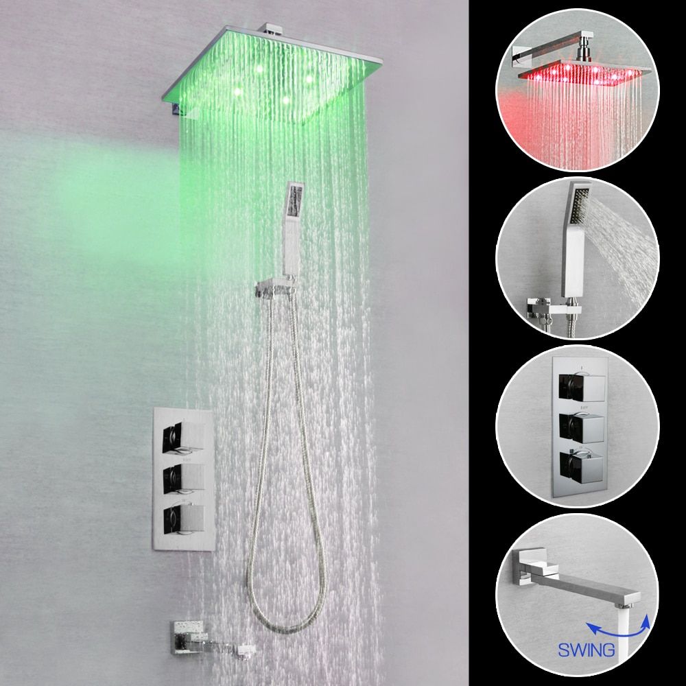 SKOWLL Bathroom Shower Faucet Set Chrome Brass LED Hot & Cold Mixer Tap Waterfall SK-7623