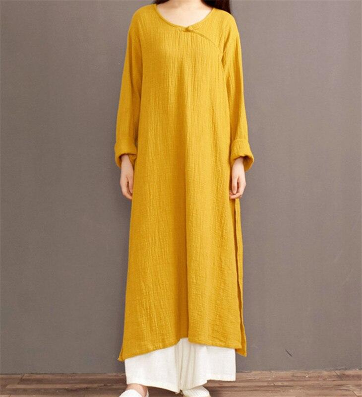 2019 otoño mujeres vestidos de manga larga talla grande 0-Cuello algodón Lino Maxi Vestido, casual primavera largo Vestido femenino 5xl 6xl