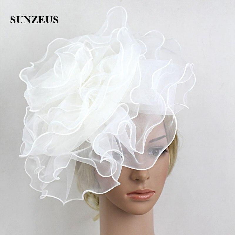 Sombreros de novia blancos con diadema para niña, flores grandes, accesorios para...