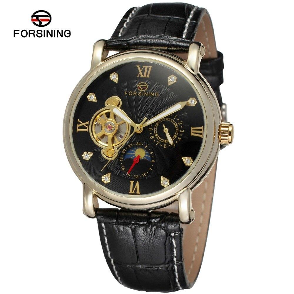 NEW ARRIVE! FORSINING FSG800M3G4 moon phase popular design for men gold color case black dial  with stones genuine leather
