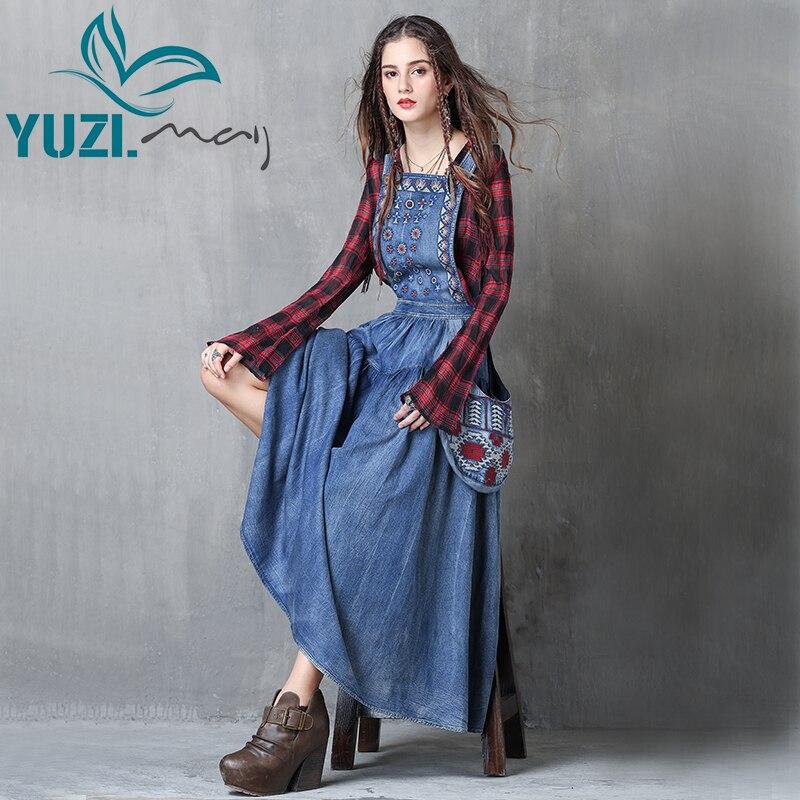 Женское платье 2017 Yuzi.may Boho, новое джинсовое платье с цветочной вышивкой, ТРАПЕЦИЕВИДНОЕ ПЛАТЬЕ на молнии сзади, платье макси A82038