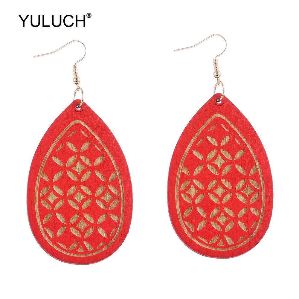 YULUCH Fashion Water Drop kolczyki dla kobiet biżuteria Vintage African Indian drewniane rzeźby kwadratowe wiszące kreatywne kolczyki