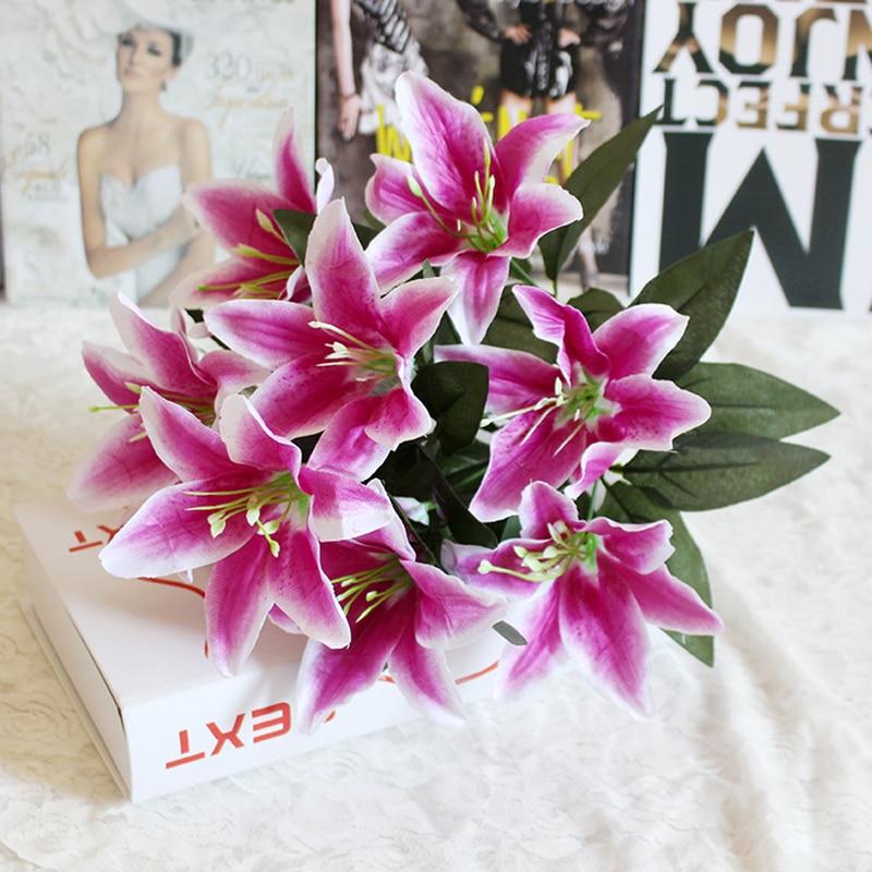 1 ramo de 10 cabezas, ramo de flores de lirio Artificial Multicolor, flores falsas, flores nupciales para DIY, decoración de la corona de la boda del hogar