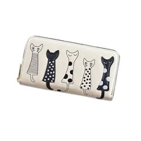 2019 new pattern ladies wallet girls walletcartoons wallet lovely five cats zipper hand wallet
