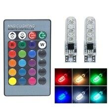 2 stücke T10 W5W LED RGB Auto Freiheit Licht 12V 5050 SMD 194 168 RGBW LED Auto Keil Seite licht Atmosphäre Lampe mit Fernbedienung