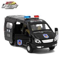 1/32 échelle moulé sous pression russe GAZ Gazel Police Ambulance modèle de voiture pour garçons ou enfants comme jouets avec musique/lumière/fonction de retrait