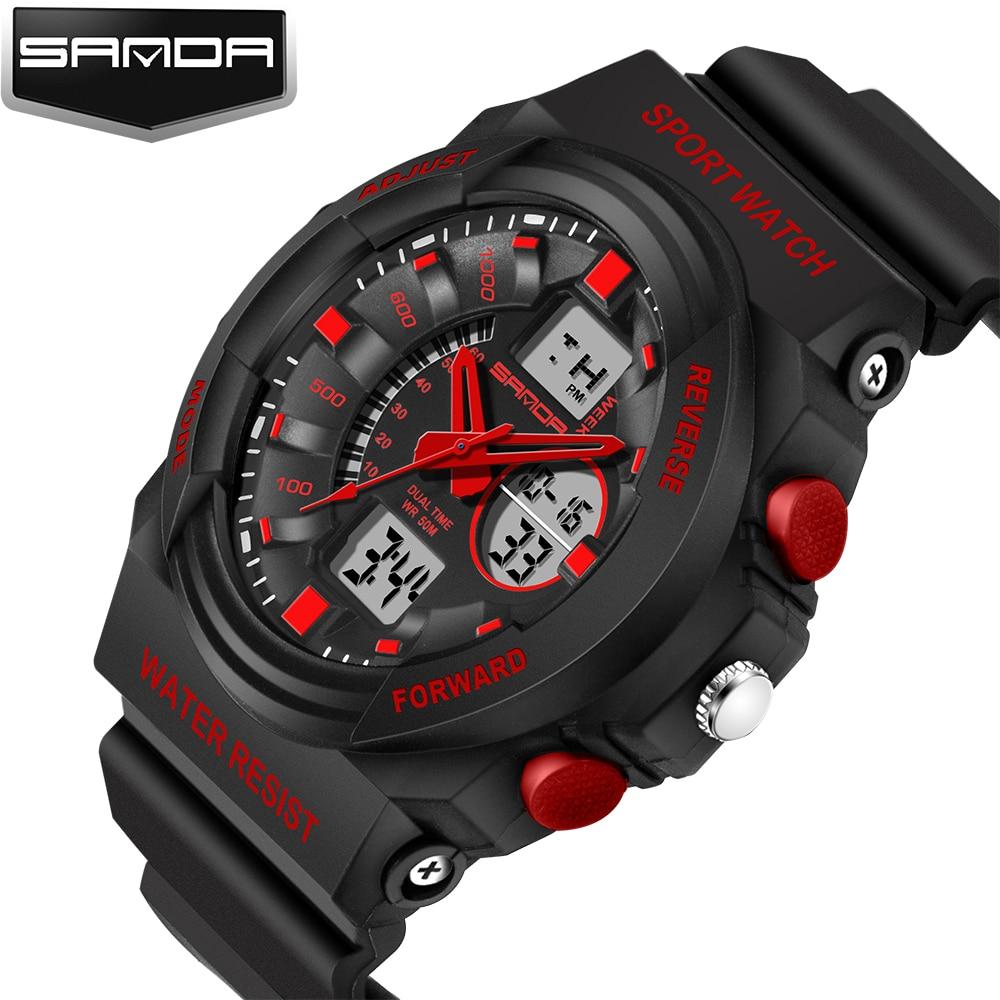 Reloj Digital Sanda de marca de lujo superior para hombre, reloj deportivo a prueba de golpes, resistente al agua, reloj de pulsera militar de doble pantalla, reloj