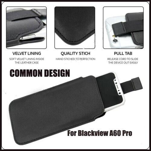 Funda de cuero de PU de acero para Blackview A60 Pro Pull Tab manga bolsa funda