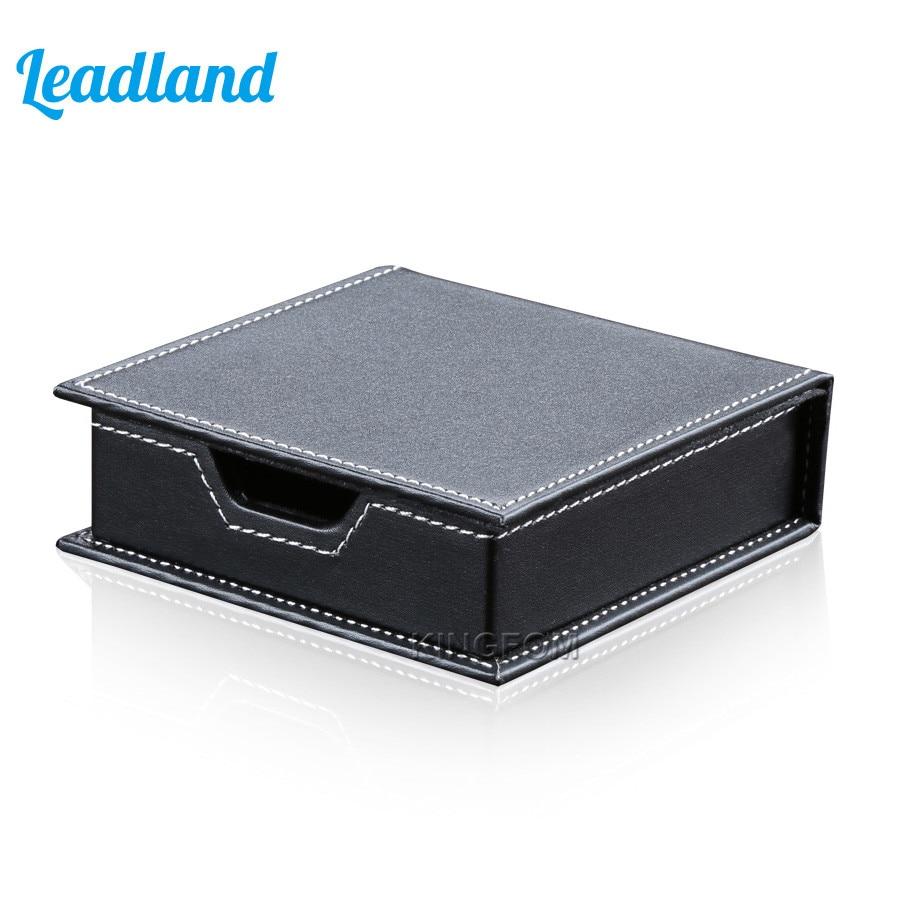 Square PU Leather Memo Holder Paper Note Box Sticky Note Storage Memo Box Desk organizer Sticky paper holder