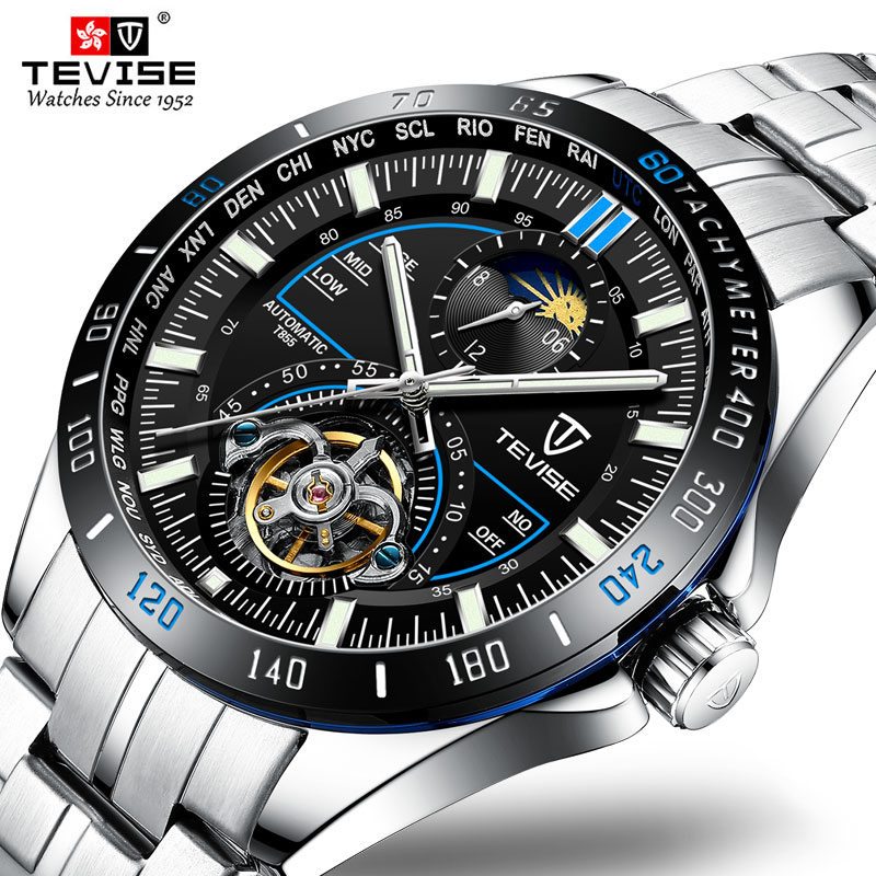 Tevise Moon Phase Watch Men Mechanical Watches Fashion Luxury Men's Automatic Watch Clock Male Busin