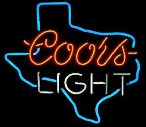 العرف Coors ضوء تكساس الزجاج ضوء النيون تسجيل البيرة بار