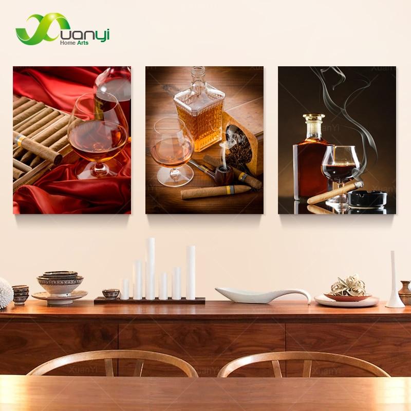 3 paneles de impresión moderna de la pintura del cigarro del vino de Jacky Cuadros decoración de la pared arte de la lona pintura de la decoración del hogar UnFrame PR101