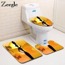 Zeegle Microfiber 3pcs Bath Mat Set African Woman Toilet Rugs Lid Toilet Cover Non-slip Bathroom Floor Mats Bathroom Carpets Set