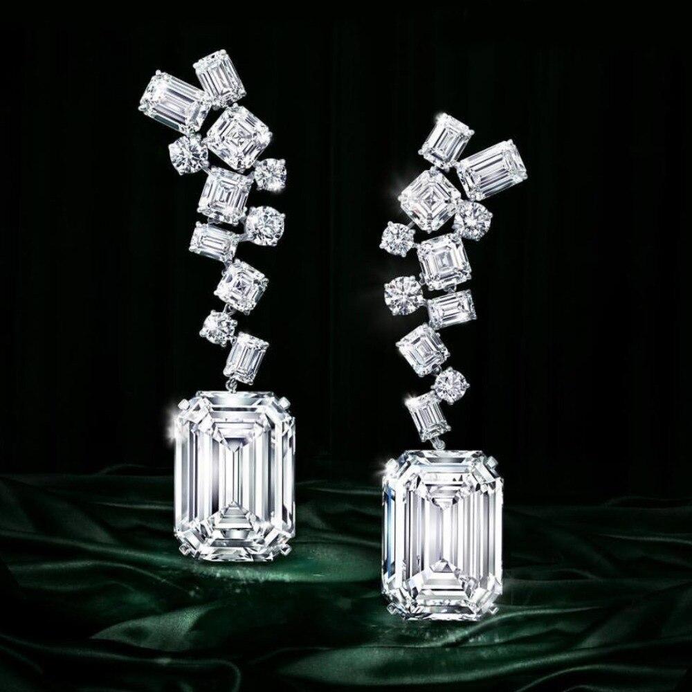 Godki luxo na moda geométrica cz zircão cúbico borla dangle brincos para casamento feminino brincos longos pendientes mujer moda 2018