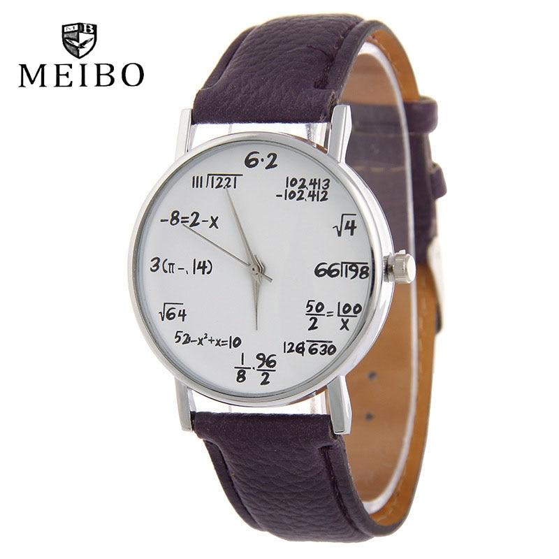 MEIBO Fashion Maths Formula Watch Leather Watchband Women Personalized Watches Casual Men's Watch  L
