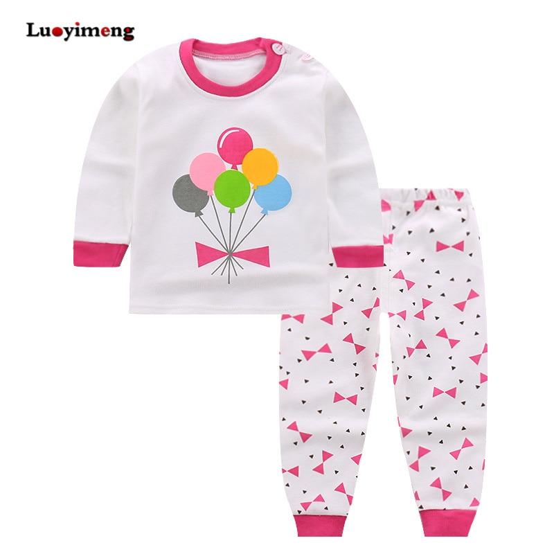 Spring Autumn 2piece Pajamas For Girls Cotton Baby Long-sleeves Children Clothes Sets Cartoon Sleepwear Kids Boys Girl Pyjamas