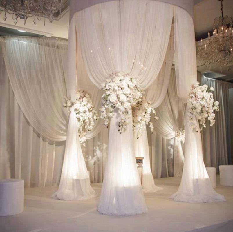 Fashion and Romantic 3mHeiight *2m Diameter Beauty Sheer Voile  Drapes  For Wedding Round Pavilion Mandap