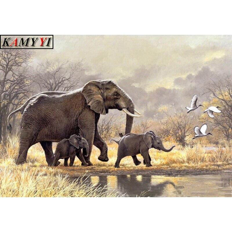 """5D DIY cuadrado completo/Pintura de diamante perforado redondo punto de cruz """"familia de elefantes lindos"""" Rhinestone bordado mosaico decorativo regalo para el hogar"""