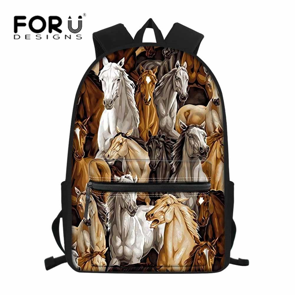 FORUDESIGNS 3D Crazy Horses Print School Bags Canvas Large Shoulder Backpack for Boy Girls Orthopedic Bagpack Waterproof Daypack