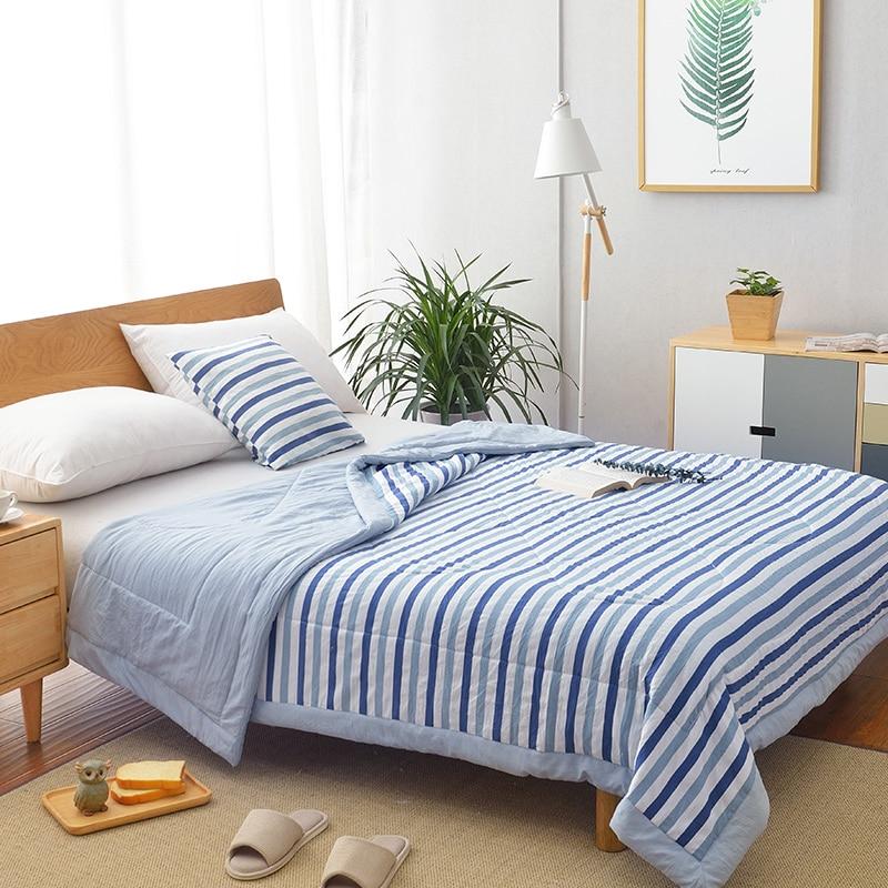 الصيف غسلها القطن تكييف الهواء لحاف لينة تنفس بطانية رقيقة شريط منقوشة المعزي غطاء السرير