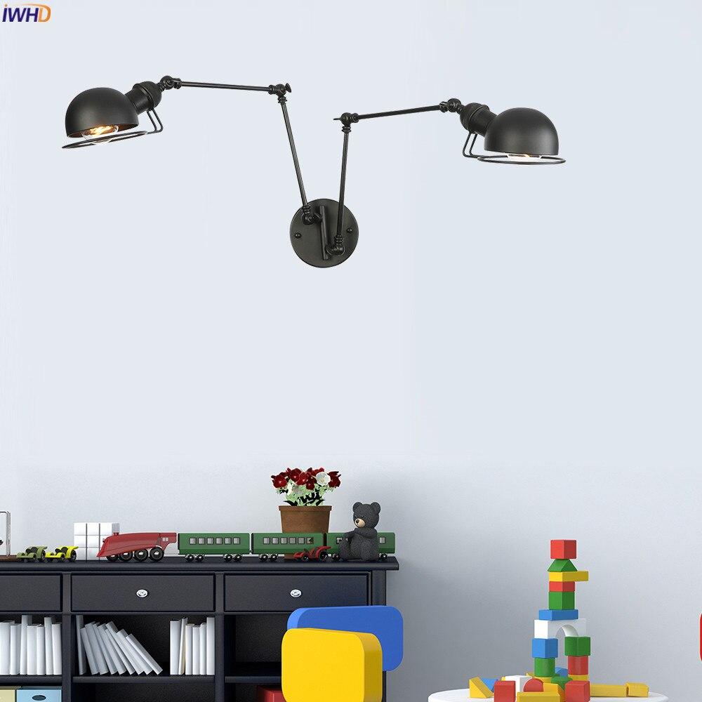 IWHD Black Iron Swing Long Arm Wall Lamp Vintage Bedroom Bathroom Mirror Stair Light Loft Retro Wall Lights LED Sconce Edison