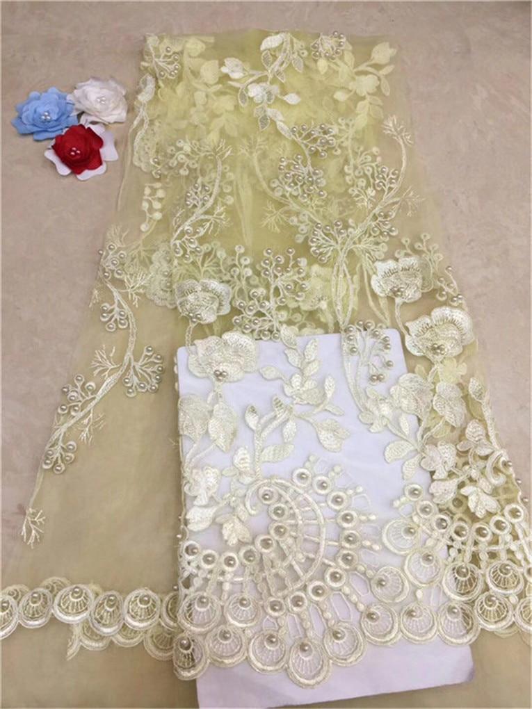 Más Vendidos Africana puro encaje de tul blanco de alta calidad amarillo africano tela con encaje de red francés con piedras pesadas y cuentas (FJ19-4