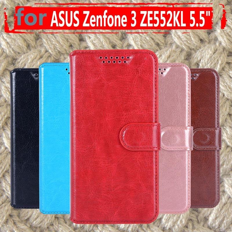 Funda de teléfono de cuero abatible para Asus Zenfone 3 ZE552KL Zenfone3 ASUS_Z012D cartera ranuras para tarjetas Flip fundas carcasa para Asus ZE552KL