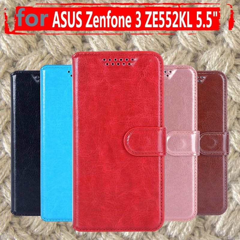 Skórzane etui z klapką na telefon dla Asus Zenfone 3 ZE552KL Zenfone3 ASUS_Z012D gniazda kart portfel etui z klapką pokrywa Shell dla Asus ZE552KL